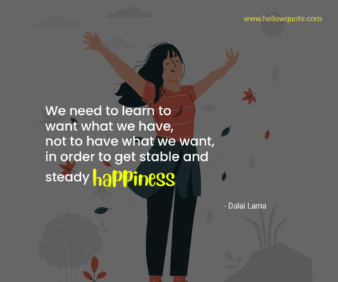 We need to learn to want what we have, not to have what we want, in order to get stable and steady happiness.